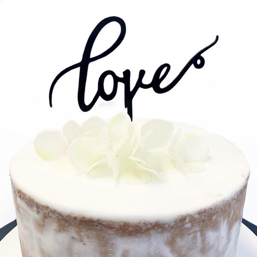 Acrylic Cake Topper 'Love' - BLACK