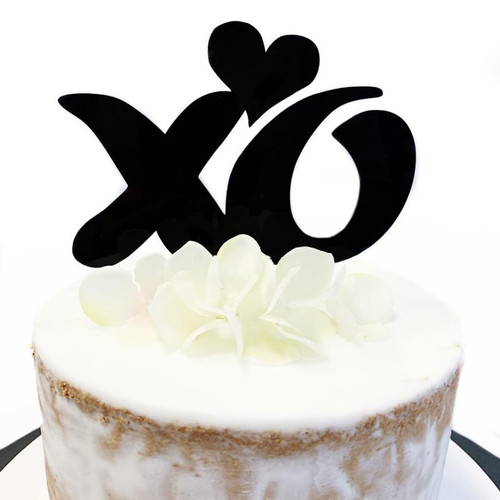 Acrylic Cake Topper 'XO' - Black