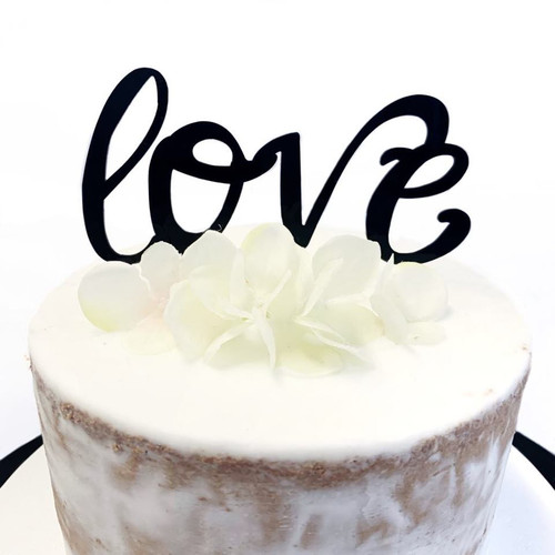 Acrylic Cake Topper 'Love' (script) - BLACK
