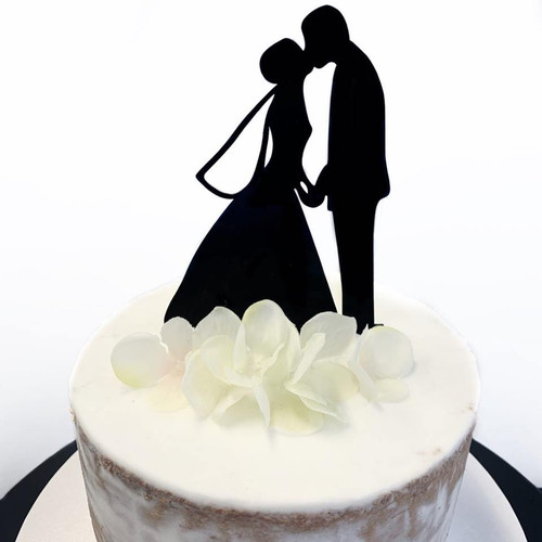 Acrylic Cake Topper 'Kissing Couple' - BLACK