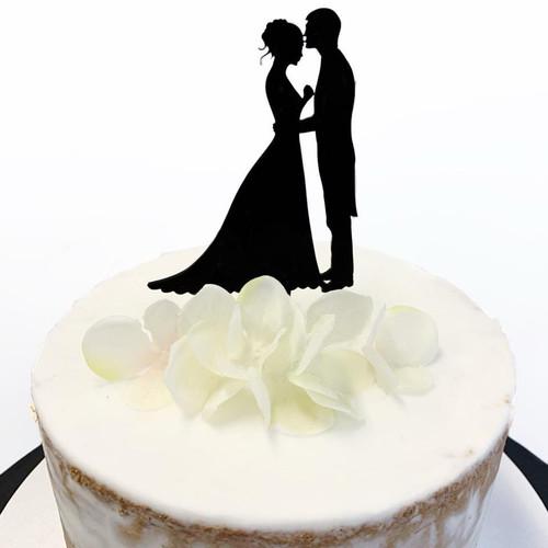 Acrylic Cake Topper 'Kissing Couple Silhouette' - BLACK
