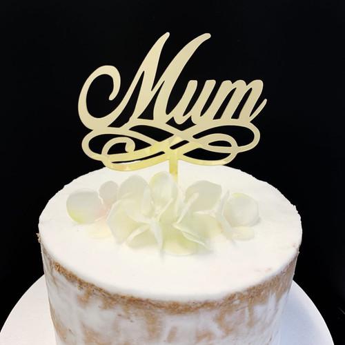 Acrylic Cake Topper 'Mum' - GOLD