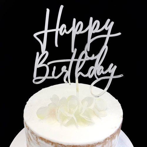 "Acrylic Cake Topper ""Happy Birthday"" - SILVER"