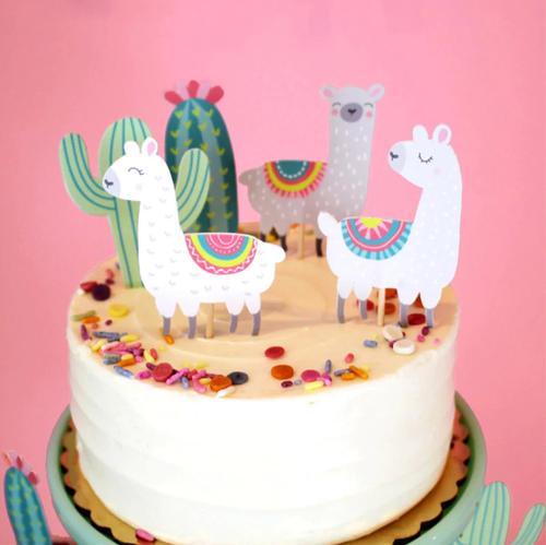 Cake Topper 5pc Set - Llama/Alpaca & Cactus
