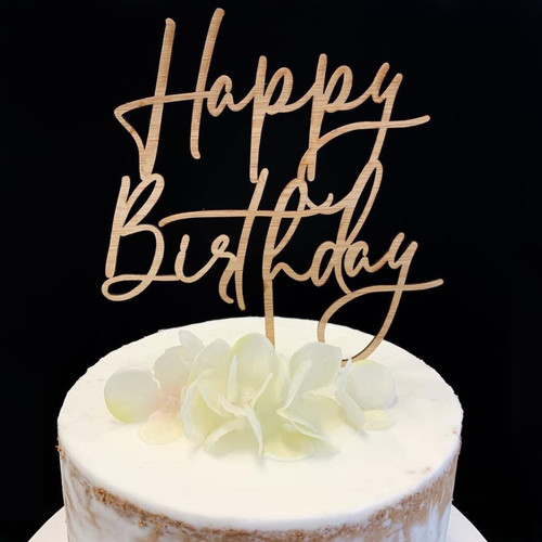 Cake Topper 'HAPPY BIRTHDAY' (Fancy) - BAMBOO