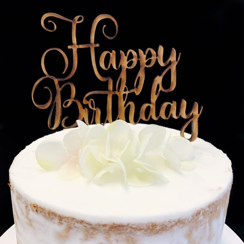 Cake Topper 'HAPPY BIRTHDAY' (Fancy) - TIMBER