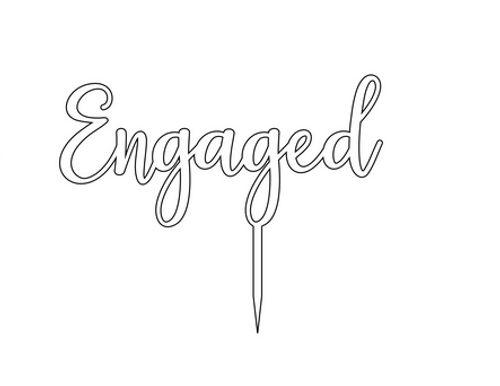 Acrylic Cake Topper 'Engaged' - SILVER
