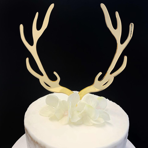 Acrylic Cake Topper 'Reindeer Antlers' - GOLD
