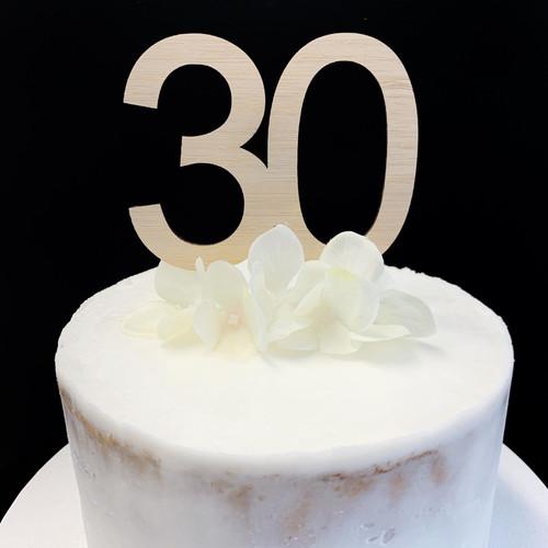 """Cake Topper """"30""""  8.5cm - BAMBOO"""