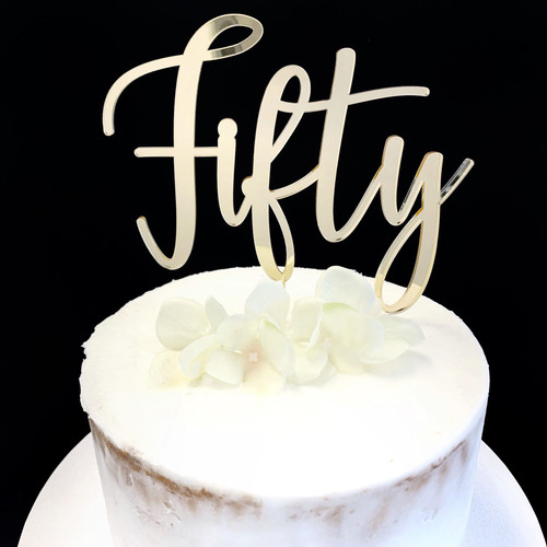 Acrylic Cake Topper 'Fifty' (Age Script) - GOLD