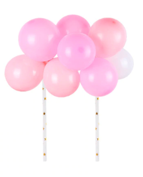 Cake Topper Set - Balloons - Pinks & White
