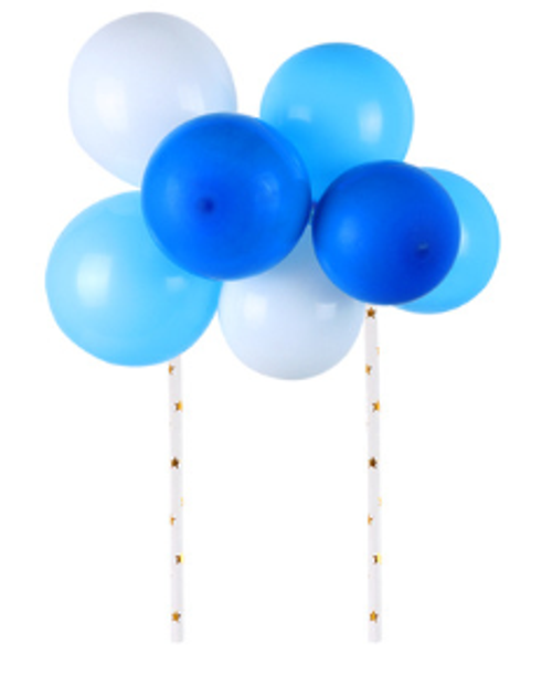 Cake Topper -Balloons/Sequins - Blue and white