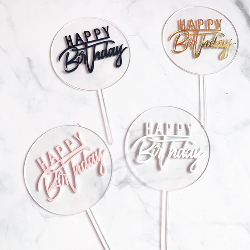 "Clear Acrylic Cake Toppers - ""Happy Birthday"""