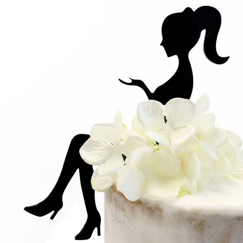 Acrylic Cake Topper 'Sitting Lady Silhouette' - BLACK