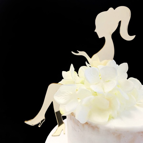 Acrylic Cake Topper 'Sitting Lady Silhouette' - GOLD