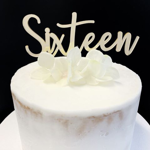Acrylic Cake Topper 'SIXTEEN' (Fancy) - GOLD