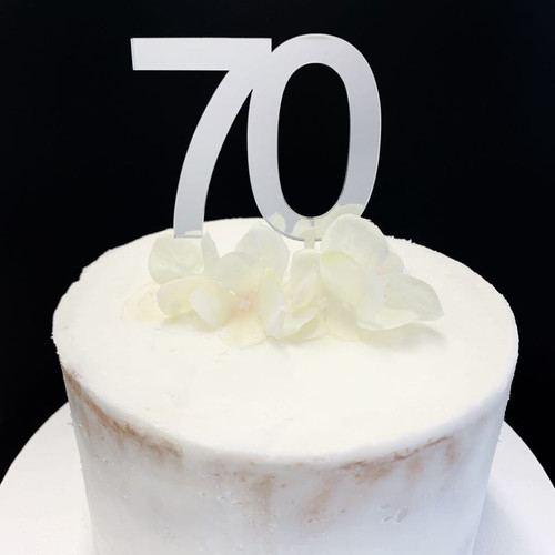 "Cake Topper ""70"" - 7cm - SILVER"