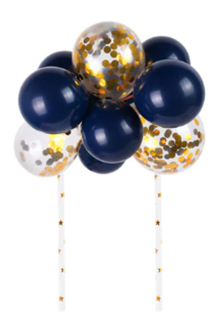 Cake Topper - Balloons/Sequins - Black,Blue & Gold