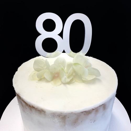 "Acrylic Cake Topper ""80""  7cm - SILVER"