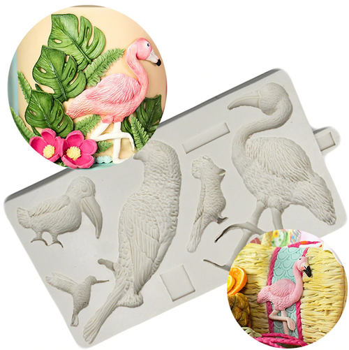 Silicone Mould - 5pc - ASSORTED BIRDS