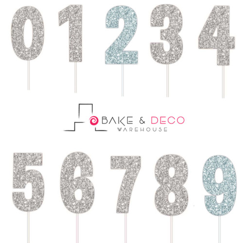 Paper Number Cake Toppers - Glitter Silver