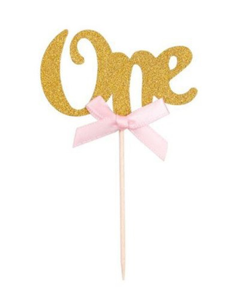 "Cupcake Toppers 6pc - Gold "" ONE """