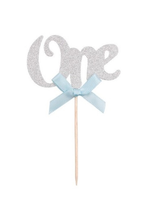 "Cupcake Toppers 6pc - Silver ""ONE"""