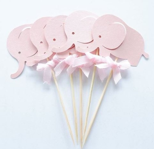 Cupcake Toppers 10pc - Pink Elephant