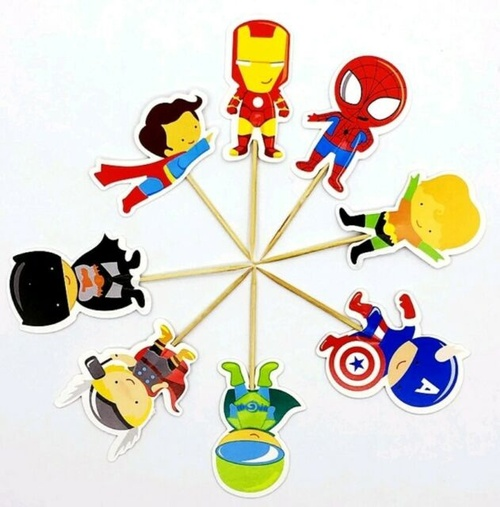 Cupcake Toppers 24pc - Superheroes Cartoon