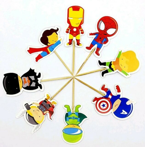 Cupcake Toppers 24pc - Superheroes Cartoon