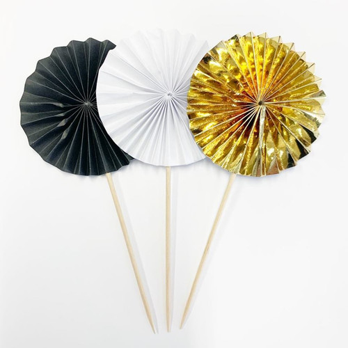 Shmick Mini Fan Wheel Decorations - WHITE, BLACK & GOLD