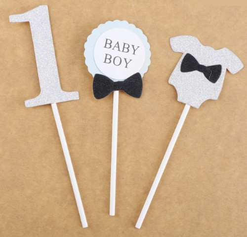 Cupcake Toppers 3pc - Baby Boy Silver