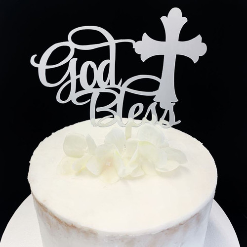 Acrylic Cake Topper 'God Bless' - SILVER