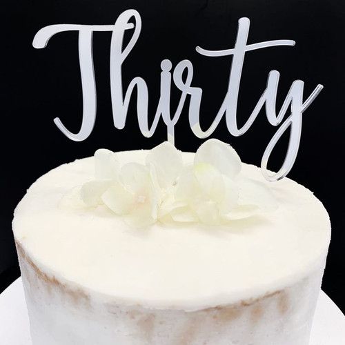 Acrylic Cake Topper 'Thirty' - SILVER