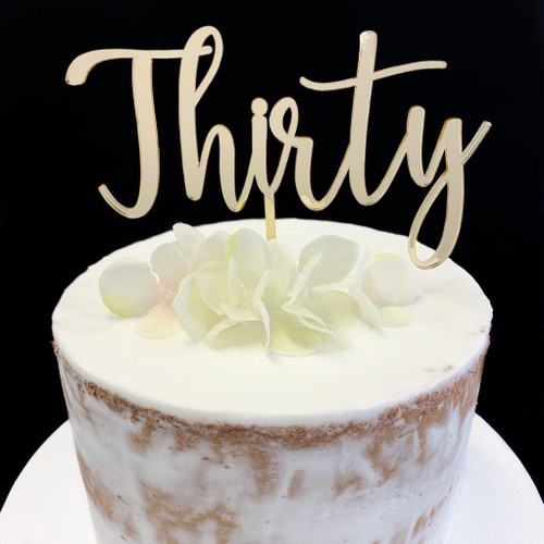 Cake Topper  THIRTY (Age Script) - BAMBOO