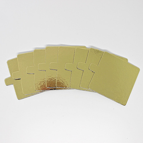 "Cake Board with Tab 3"" BULK 50pk - GOLD SQUARE"