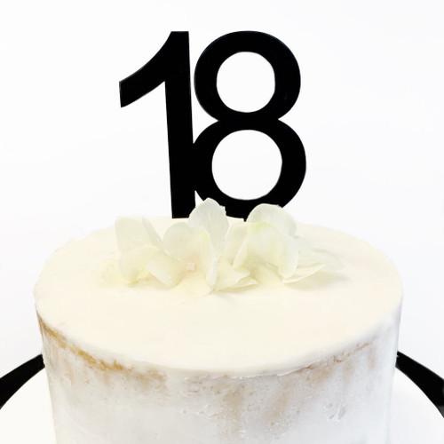 Cake Topper '18' 8.5cm - BLACK