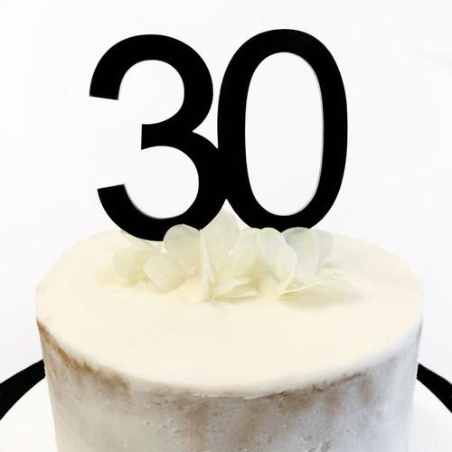 Cake Topper '30' 8.5cm - BLACK