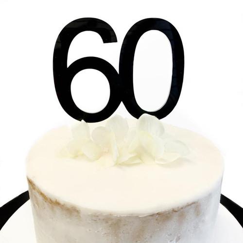 Cake Topper '60' 8.5cm - BLACK