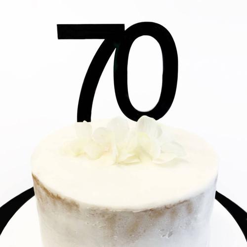 Cake Topper '70' 8.5cm - BLACK