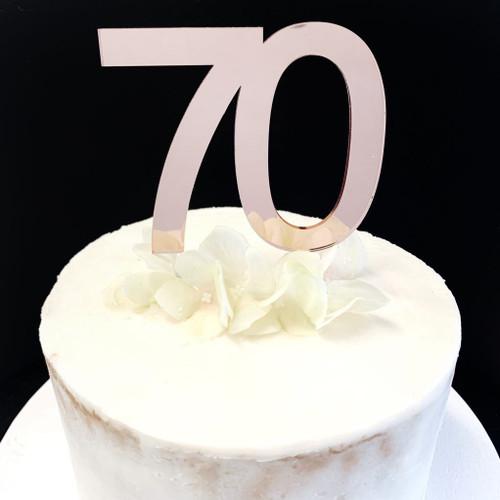 Cake Topper '70' 8.5cm - ROSE GOLD