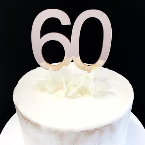 Cake Topper '60' 8.5cm - ROSE GOLD