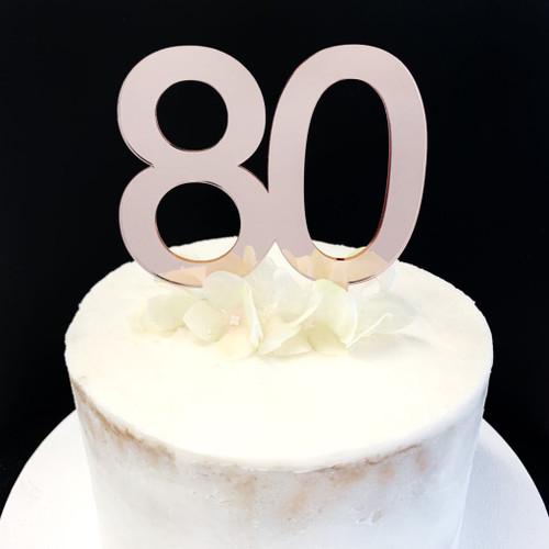 Cake Topper '80' 8.5cm - ROSE GOLD