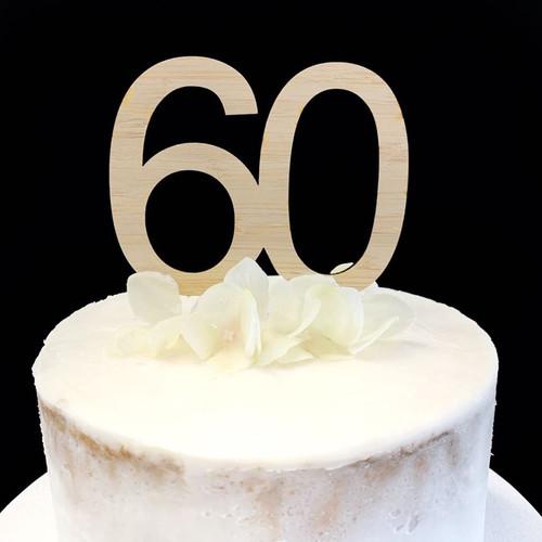 Cake Topper '60' 8.5cm - BAMBOO