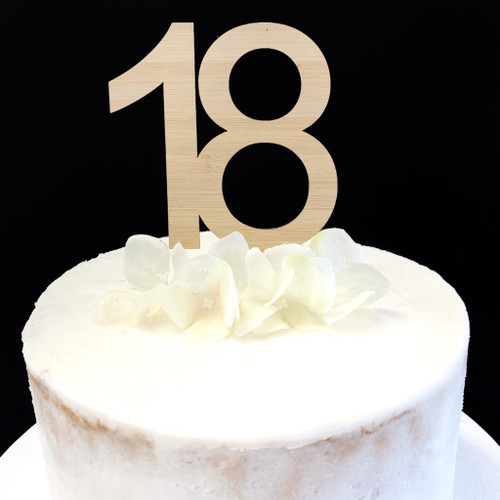 Cake Topper '18' 8.5cm - BAMBOO