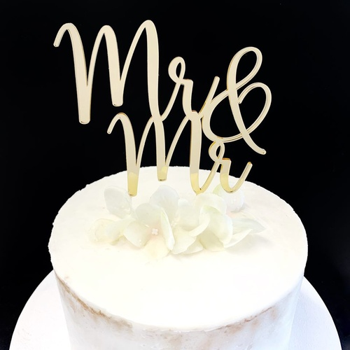 Acrylic Cake Topper 'Mr & Mr' - GOLD