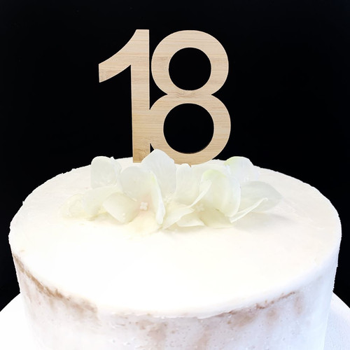 Cake Topper '18' 7cm - BAMBOO