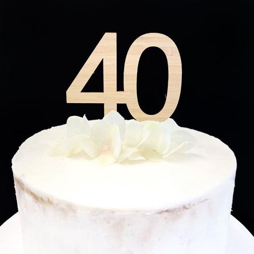 Cake Topper '40' 7cm - BAMBOO