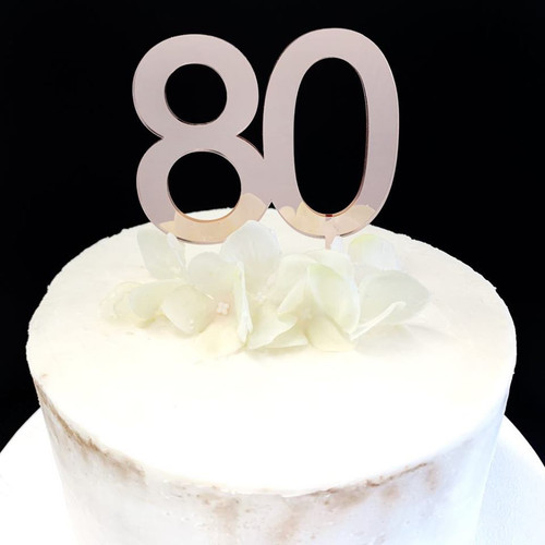 Acrylic Cake Topper '80' 7cm - ROSE GOLD