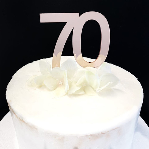 Acrylic Cake Topper '70' 7cm - ROSE GOLD
